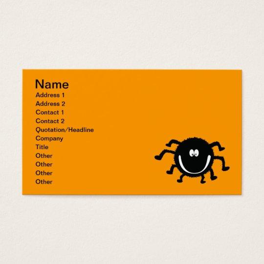 spider001_92007 HAPPY LITTLE BLACK ORANGE SPIDER C Business Card