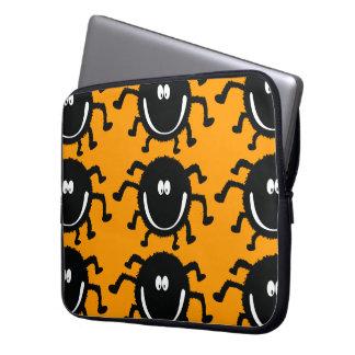 spider001_92007 HAPPY LITTLE BLACK ORANGE SPIDER C Laptop Sleeves