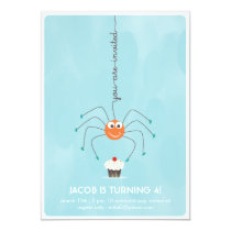 Spider and a cupcake Birthday Party Invitation
