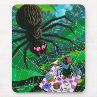 Spider and fly enjoying picnic together mouse pad
