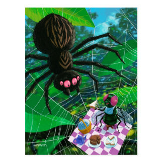 Spider and fly enjoying picnic together postcard