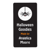 Spider and moon Halloween kitchen label Shipping Label