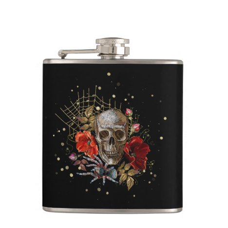 Spider and Skeleton, Monogram Your Own Flask