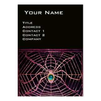 SPIDER AND WEB Blue Aquamarine Black Pearl Paper Large Business Cards (Pack Of 100)
