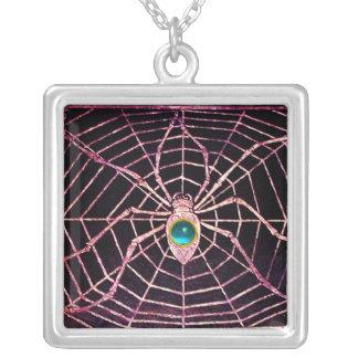 SPIDER AND WEB Blue Aquamarine Black Square Pendant Necklace