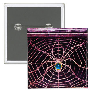 SPIDER AND WEB Blue Sapphire Black Button