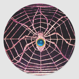 SPIDER AND WEB Blue Sapphire Black Classic Round Sticker