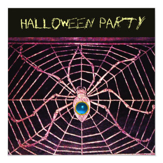 SPIDER AND WEB BLUE SAPPHIRE BLACK HALLOWEEN PARTY CARD