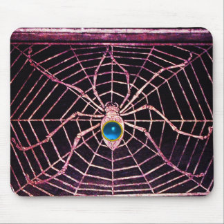 SPIDER AND WEB Blue Sapphire Black Mouse Pad