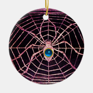 SPIDER AND WEB Blue Sapphire Black Christmas Tree Ornaments