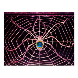 SPIDER AND WEB Blue Sapphire Black Postcard