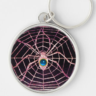 SPIDER AND WEB Blue Sapphire Black Silver-Colored Round Keychain