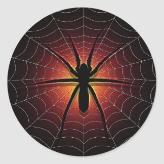 spider and web classic round sticker