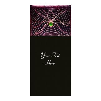 SPIDER AND WEB Green Emerald Black Custom Rack Card
