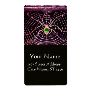 SPIDER AND WEB Green Emerald Black Shipping Label