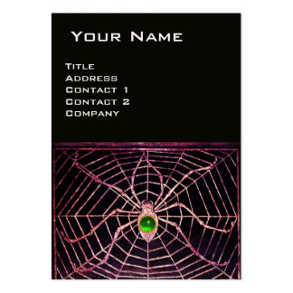 SPIDER AND WEB Green Emerald Black Pearl Paper Large Business Cards (Pack Of 100)