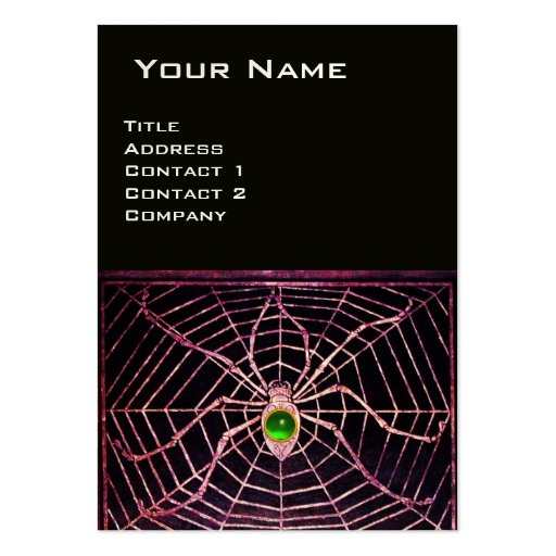 SPIDER AND WEB Green Emerald Black Pearl Paper Business Card Template