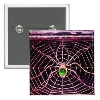 SPIDER AND WEB Green Emerald Black Pinback Button