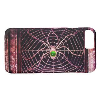 SPIDER AND WEB Green Emerald Gem Black iPhone 8/7 Case