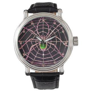 SPIDER AND WEB Green Emerald Pink Gems ,Black Wrist Watch
