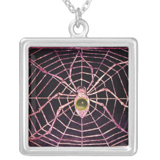 SPIDER AND WEB  Grey Agate Black Square Pendant Necklace