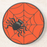 Spider and Web Halloween Beverage Coaster