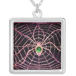 SPIDER AND WEB Jade Green Black Square Pendant Necklace