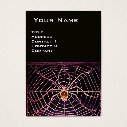 SPIDER AND WEB Orange Agate Black Business Card