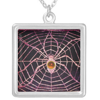 SPIDER AND WEB Orange Agate Black Silver Plated Necklace