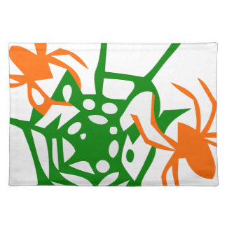 spider and web orange green cloth placemat