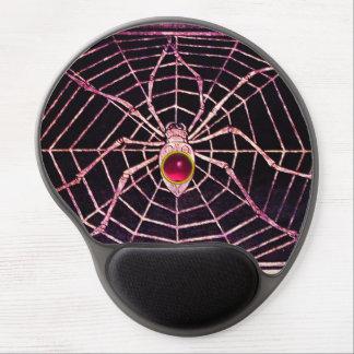 SPIDER AND WEB Pink Fuchsia Amethyst Gem, Black Gel Mouse Pad