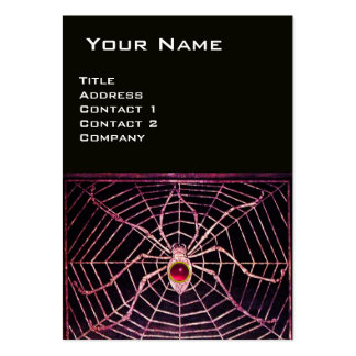 SPIDER AND WEB Pink Fuchsia Ruby Black Large Business Cards (Pack Of 100)