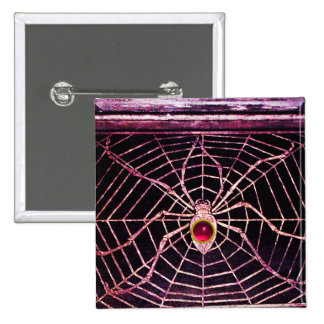 SPIDER AND WEB Pink Fuchsia Ruby Black Button