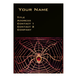SPIDER AND WEB Pink Fuchsia Ruby Black Gold Metal Large Business Cards (Pack Of 100)
