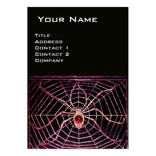 SPIDER AND WEB Pink Fuchsia Ruby Black Pearl Pearl Large Business Card