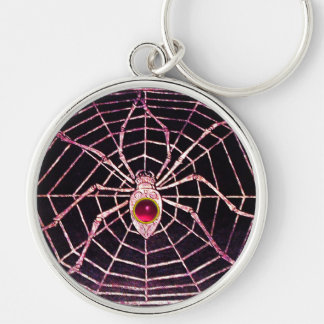 SPIDER AND WEB Pink Fuchsia Ruby Black Silver-Colored Round Keychain