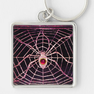 SPIDER AND WEB Pink Fuchsia Ruby Black Silver-Colored Square Keychain