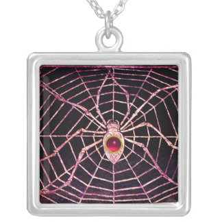 SPIDER AND WEB Pink Fuchsia Ruby Black Silver Plated Necklace