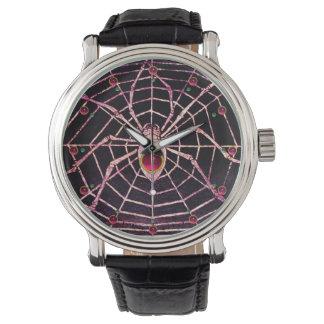 SPIDER AND WEB Pink Fuchsia Ruby Black Wrist Watch