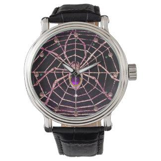 SPIDER AND WEB Pink Purple Amethyst Gems ,Black Wrist Watch