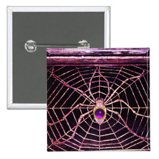 SPIDER AND WEB Purple Amethyst Black Button