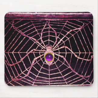 SPIDER AND WEB Purple Amethyst Black Mouse Pad