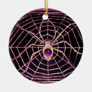SPIDER AND WEB Purple Amethyst Black Christmas Ornament