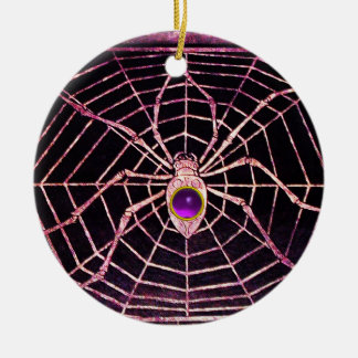 SPIDER AND WEB Purple Amethyst Black Christmas Tree Ornament