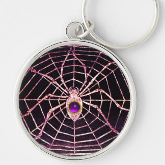 SPIDER AND WEB Purple Amethyst Black Silver-Colored Round Keychain