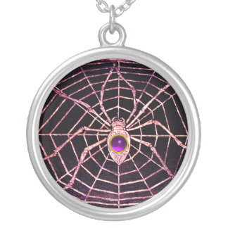 SPIDER AND WEB Purple Amethyst Black Silver Plated Necklace