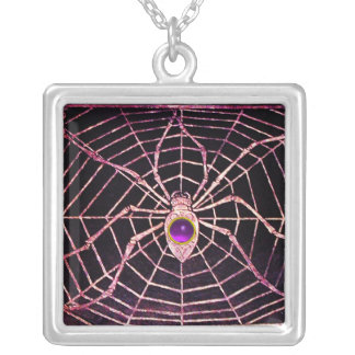 SPIDER AND WEB Purple Amethyst Black Square Pendant Necklace