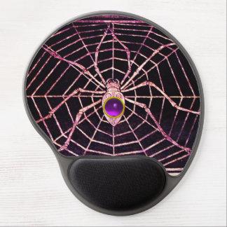 SPIDER AND WEB Purple Amethyst Gemstone, Black Gel Mouse Pad