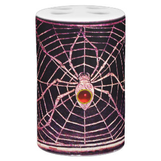 SPIDER AND WEB Red Ruby Black Bathroom Sets