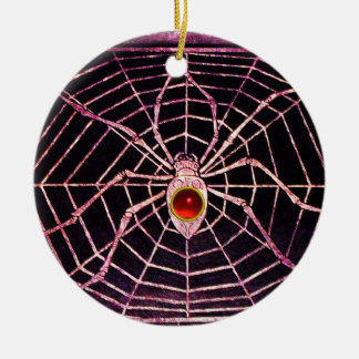 SPIDER AND WEB Red Ruby Black Christmas Ornaments